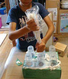 特別支援学級2年生のときの息子の夏休みの工作:宝物展  工作は感覚統合にもなる